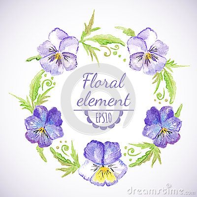 Vector watercolor floral wreath with pansy flowers and leaves. Design for invitation, wedding or greeting cards