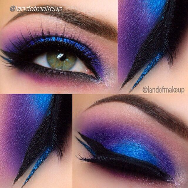 Awesome bright blue & purple eye makeup with black & blue glitter liner - LR |  By: landofmakeup, Found on Motives Cosmetics IG page