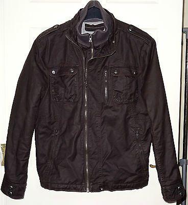 "DEBENHAMS Brown Waxy Jersey Padded Lined Heavy Winter Coat Jacket Size L 42-44"""