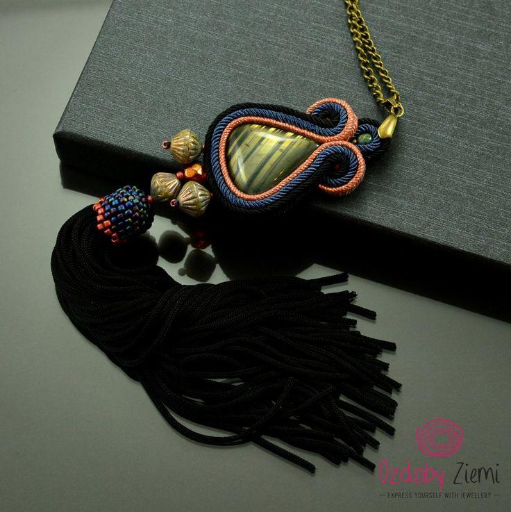 Statement soutache necklace 'Tilen', black tassel necklace, labradorite necklace, gold soutache necklace, navy blue gemstone necklace, boho by OzdobyZiemi on Etsy