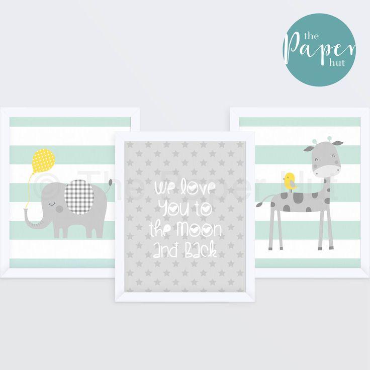 "£15.99 Unisex Nursery Art Print Mint and Grey 8"" x 10"" Three Pack | Jungle Safari"