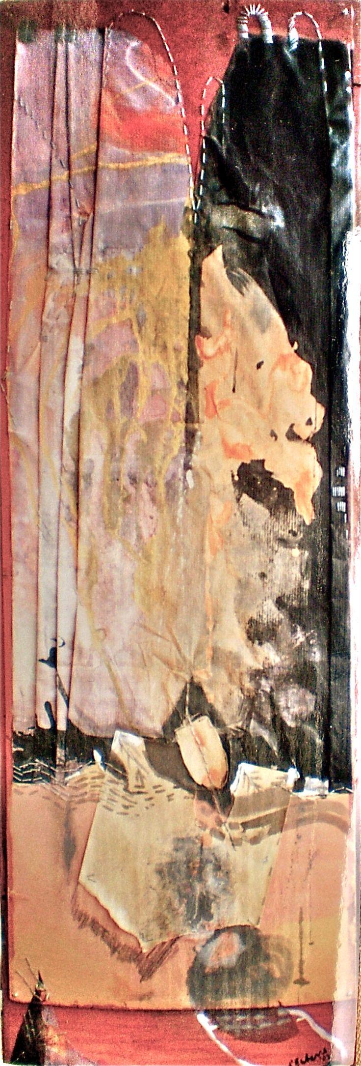 ELAINE d'ESTERRE - Rock Moves, 2002, pastel, ink, graphite and staples on gessoed board 150x50 cm by Elaine d'Esterre at http://elainedesterreart.com and http://www.facebook.com/elainedesterreart/ and http://instagram.com/desterreart/