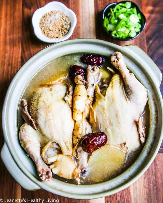 Korean Ginseng Chicken Soup - a nourishing, rejuvenating chicken soup made with Korean ginseng, stuffed with sweet rice, jujube dates, chestnuts and garlic