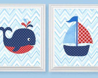 Guardería náutica arte Arte azul marino por SweetPeaNurseryArt