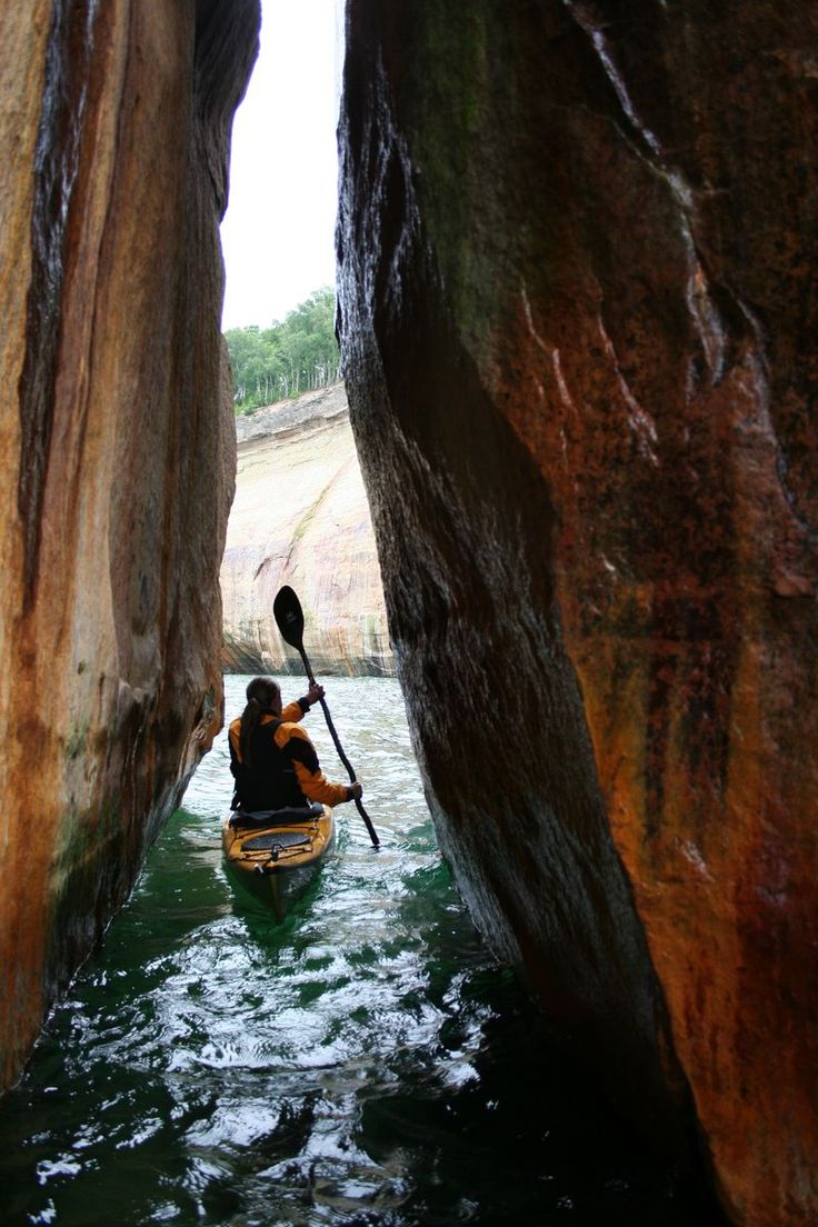 Kayak Pictured Rocks National Lakeshore. Beautiful area, I really want to go back and kayak through it this time.