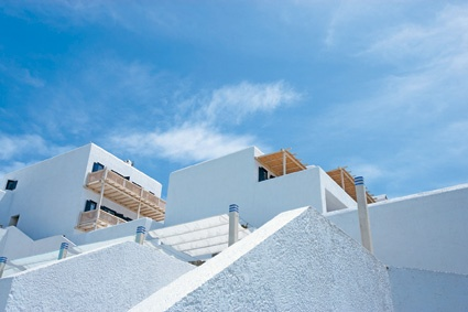 Mykonos Blu architecture reflects the cubist lines of the Cyclades