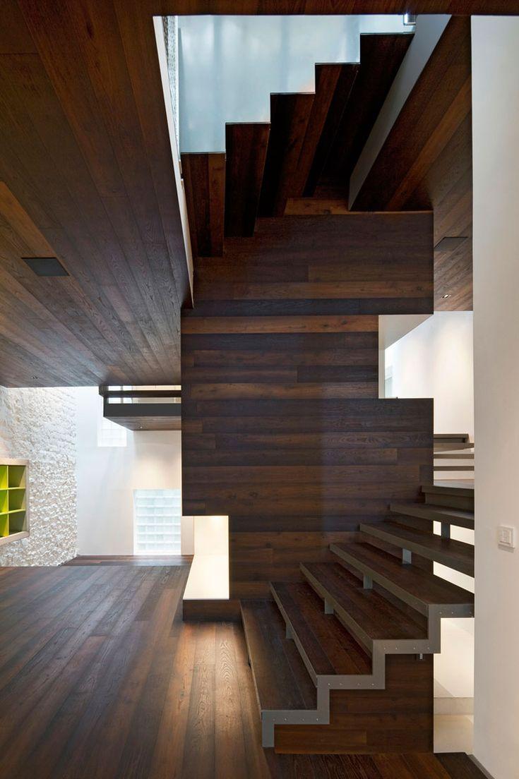 Section: Architects Associé, Maison Escali, Wood Interiors, Modern Architecture, Dark Wood, Modern Stairca, Floors Design, Stairs Design, Moussafir Architects