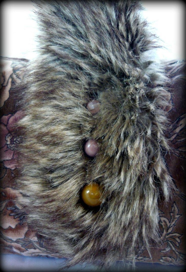 Handmade by Judy Majoros - Rose velvet faux fur handbag-evening bag.Recycled bag