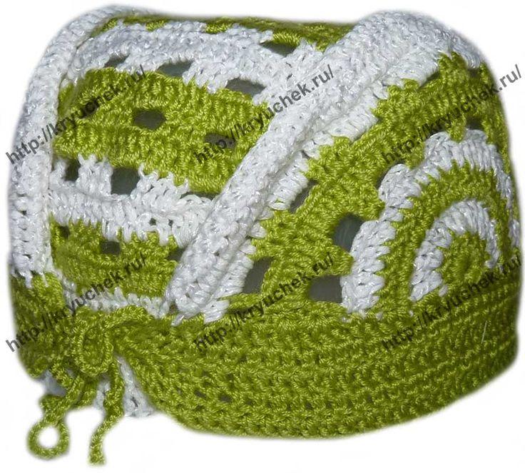 Пример вязания детской шапочки - банданы (вид сзади)