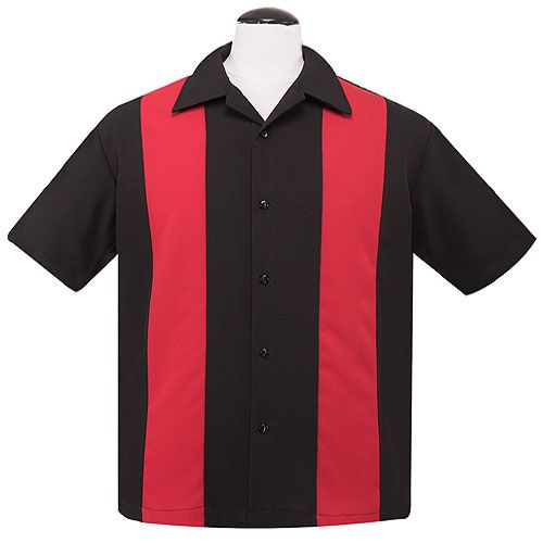 LeMans red black rock n roll bowling shirt