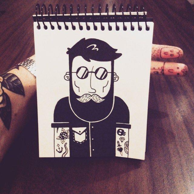 Pablo Contreras. -- Señor barbón ✏️ #illustration #drawing #dibujo #black #beard…