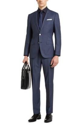Traje slim fit en lana virgen con botones de nácar: 'Hutson4/Gander1', Azul