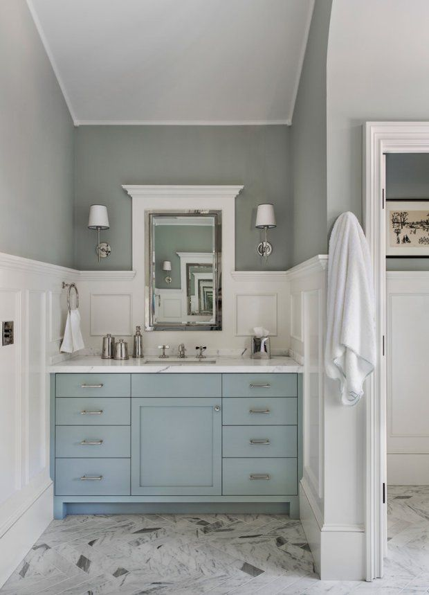 25 best ideas about blue vanity on pinterest blue - Type of paint for bathroom cabinets ...