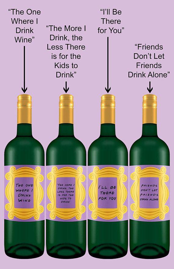Wine Bottle Labels  Peephole Frame  Friends TV Show Themed