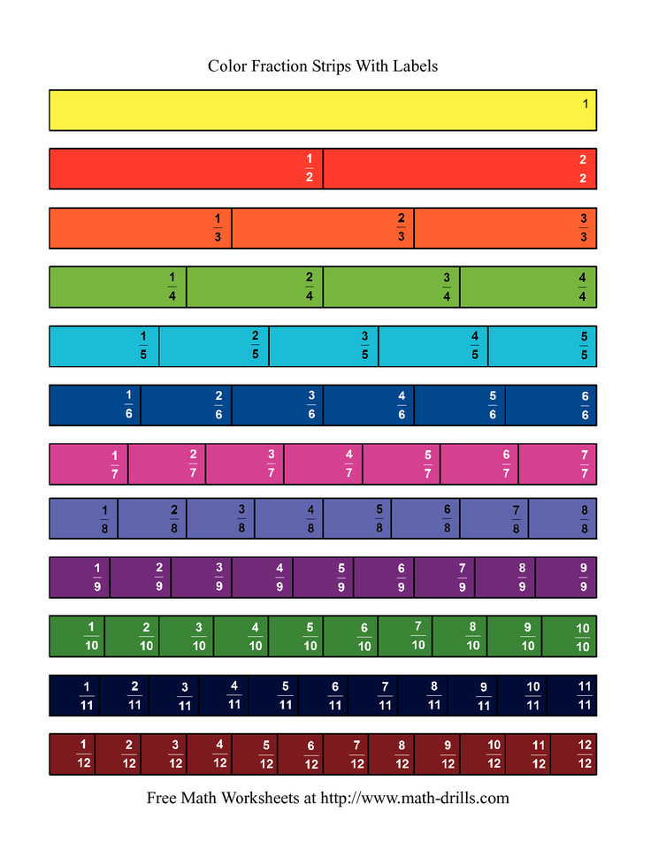 The Color Fraction Strips Labeled Math Worksheet From The Fractions Worksheet Page At Math Drills Com Fractions Fractions Worksheets Upper Elementary Math