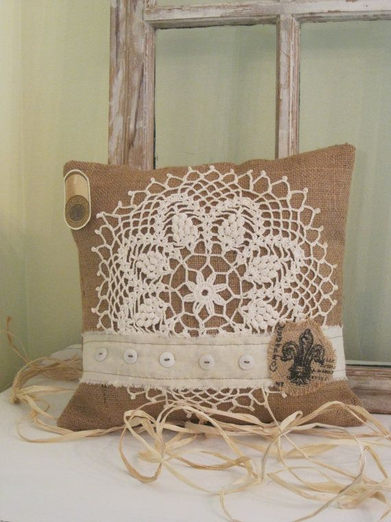 Rustic vintage inspired Burlap pillow with by BrambleWoodANDivy