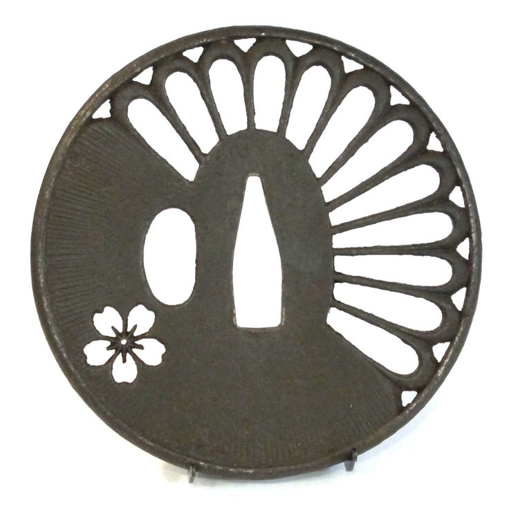 Iron marugata tsuba with chrysanthemum petals and cherry blossom flower, Japan, middle Edo http://www.jujitsumelbourne.com.au/jiu-jitsu-melbourne.html