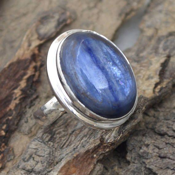 Natural Kyanite Gemstone Ring 925 Sterling Silver Kyanite