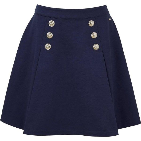 Tommy Hilfiger Fekla Sailor Skirt (395 BRL) ❤ liked on Polyvore featuring skirts, blue skirt, tommy hilfiger, tommy hilfiger skirts and sailor skirts