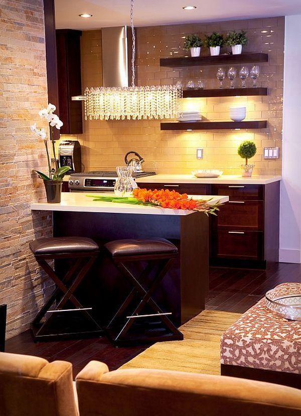 Kitchen, Chic Kitchen Interior Designs in Small Space : Stunning Small Kitchen Idea With Grey Backsplash Theme