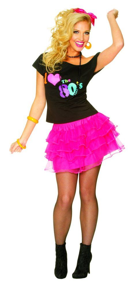80 and 90's outfits  80's petticoat neon pink  80's90's