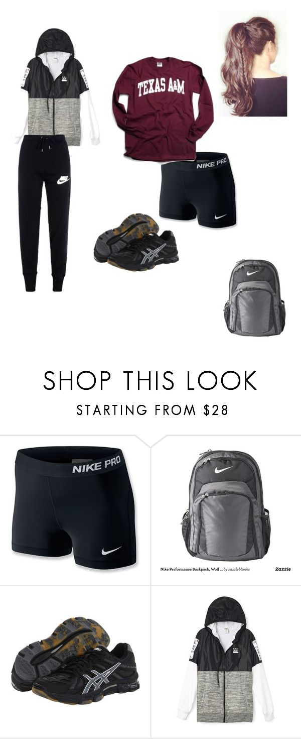 Volleyball Tournament by jonesjustice ❤ liked on Polyvore featuring NIKE and Asics