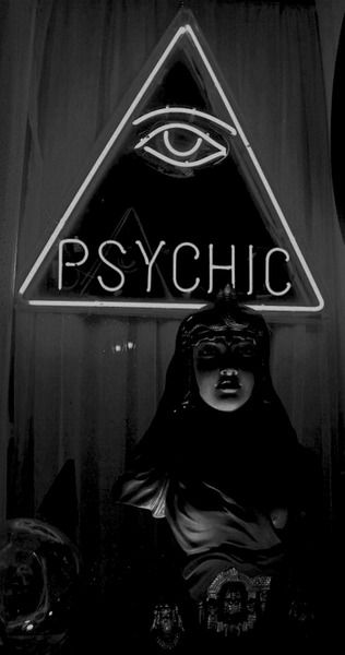 Psychic Shop | Mechanic Fortune Teller Robot | Mannequin | Pagan | Illuminated Eye & Triangle | Neon Lights | Storefront | Light Up Store Sign | Divination | Occult | Esoteric | Black and White Photography | Magick | Fortune Telling Photo |
