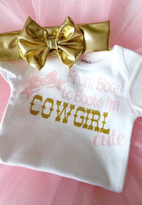 Country Girl Cowgirl shirt Bow ShirtGirls by RufflesBowtique