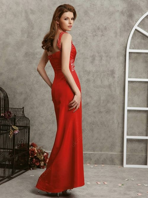 Straps Prom Dress,hot red