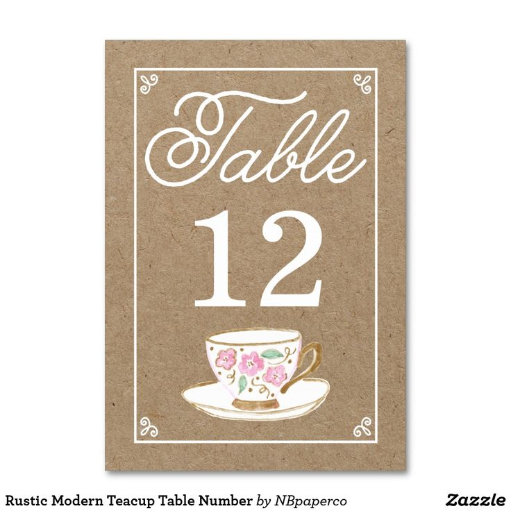 Rustic Modern Teacup Table Number This modern and chic table number features a hand painted watercolor teacup with pretty pink flowers, all on a faux kraft paper texture. This is perfect for a tea party themed celebration or shower. Visit the shop to see more.