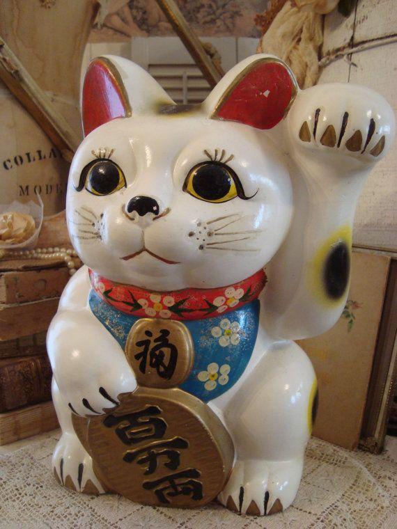 Neat Big Vintage Japanese Maneki Neko Lucky Cat Maneki Neko Neko Lucky Cat
