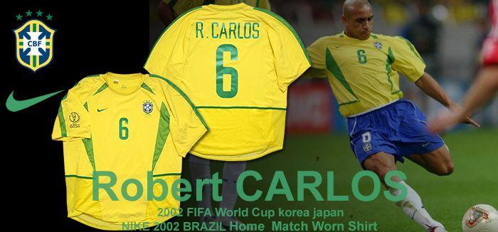 【No.6 R.CARLOS】 2002 ブラジル代表 ホーム 半袖 オーセンティック ユニフォーム (WC刺繍入り)