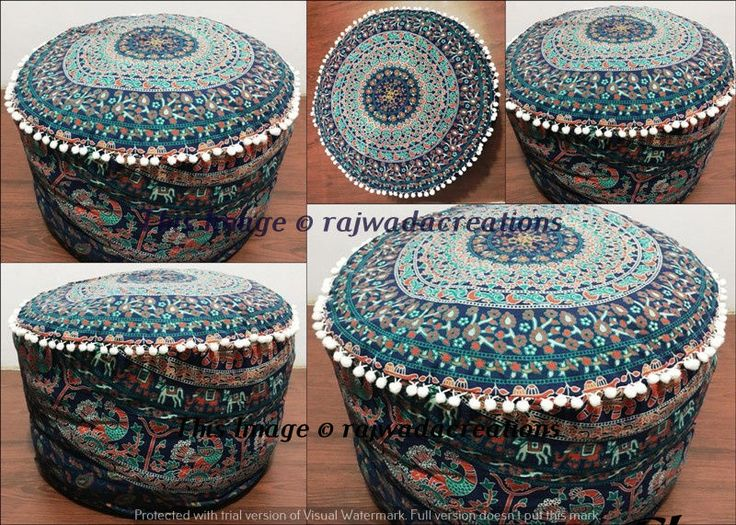 New 24  Indian Pouf Ottoman Screen Printed Mandala Foot Stool Pouf Covers Throw #Handmade : round foot stools - islam-shia.org