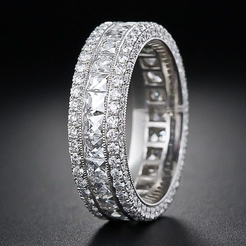 French Cut Wide Diamond Band In 2018 Just Because I Like It Pinterest Rings Diamond Bands And Diamond