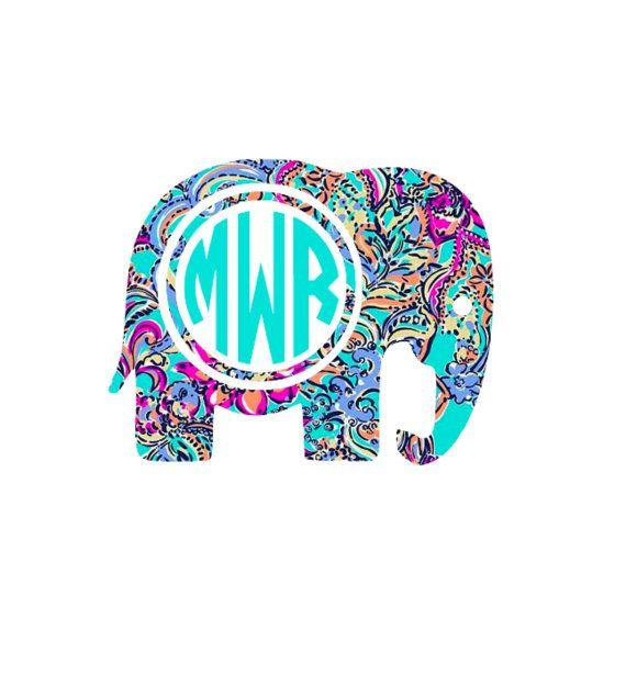 Elephant Monogram Elephant Decal Boho Decal By