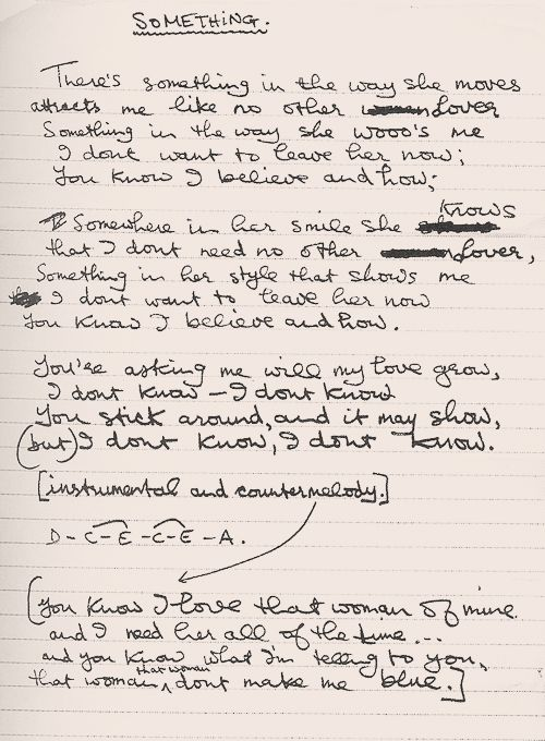 "George Harrison's handwritten lyrics for ""Something""."