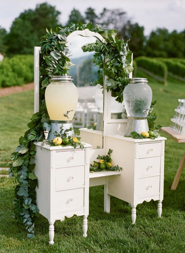 Vintage vanity drink stand: http://www.stylemepretty.com/2015/06/28/vintage-inspired-wedding-details-we-love/