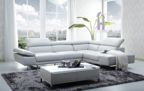 J&M Furniture 1717 Full White Italian Leather Sectional S...