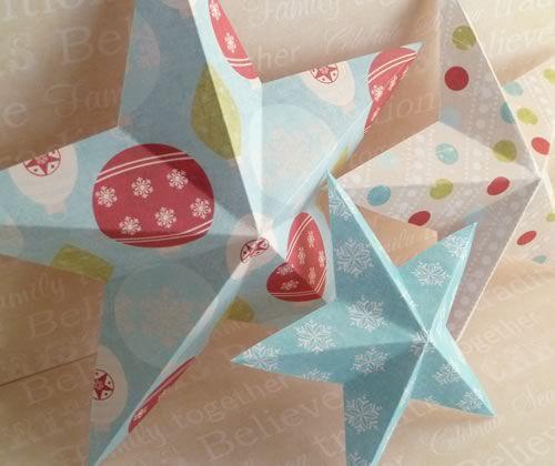 making christmas decorations 3d stars trio angle photo