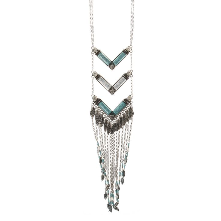<P>Bring sassy southwestern style to your outfit with this silver and turquoise necklace. Three angled bars are set between the silver chain and silver chain fringe hangs below.</P> - <UL> - <LI>Silver-tone finish  - <LI>Long thin chain  - <LI>Lobster clasp closure</LI></UL>