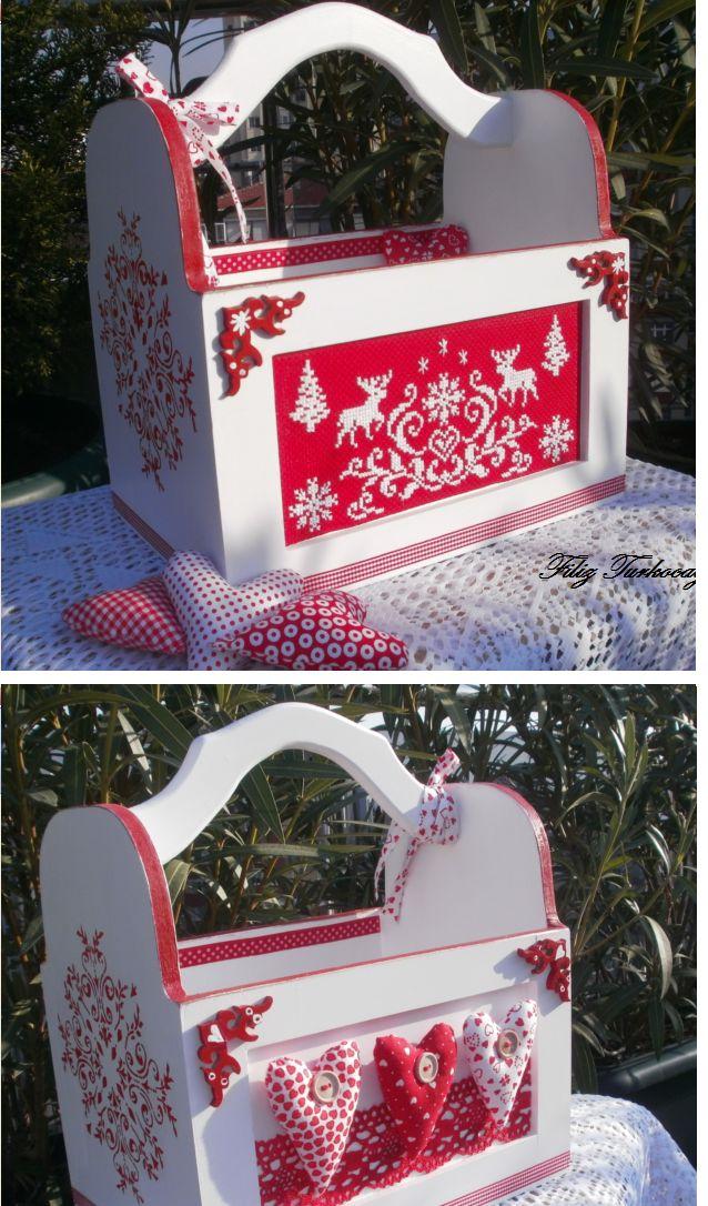 Wood painting, cross stitch, sewing box