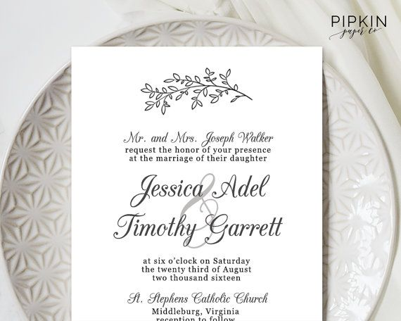 Wedding Invitation Template Download   Hand Drawn Invitation   Printable and Customizable   Digital Download for Word   Free RSVP Template
