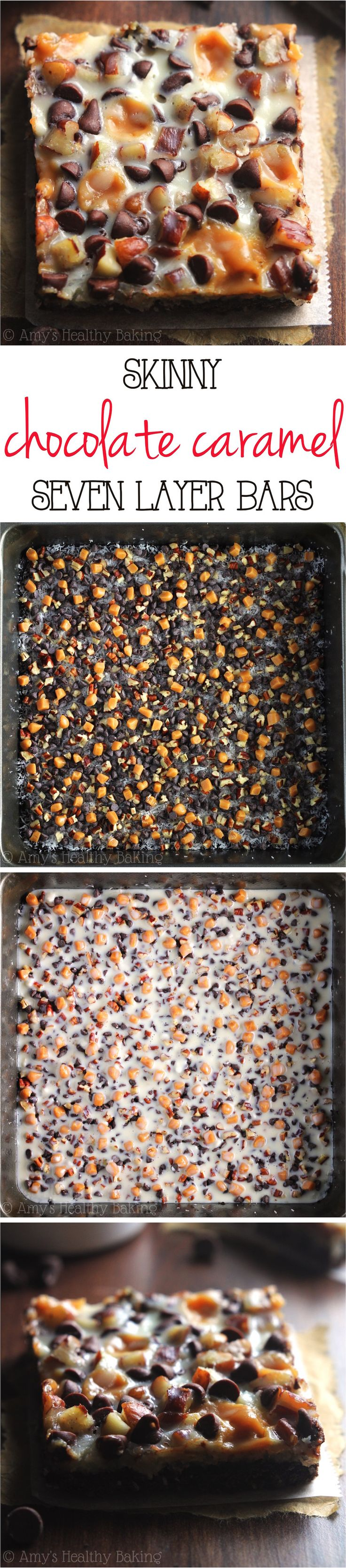 Skinny Seven Layer Bars – with 3 simple swaps, these chocolaty magic bars have all of the decadence but NONE of the guilt! They don't taste healthy at all!