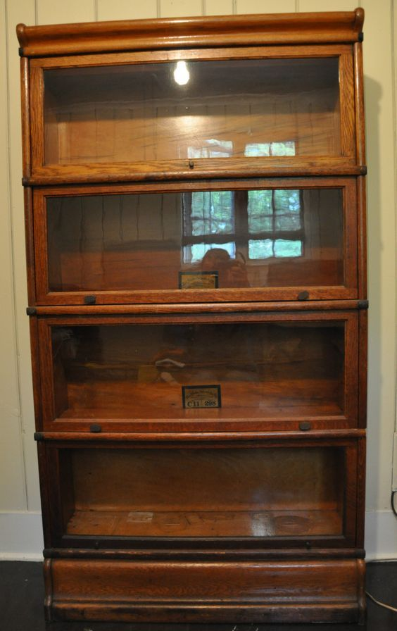 Gorgeous Antique Oak Globe Wernicke 4 Stack Barrister Bookcase w/Labels ~ Classic Antique Oak Furniture ~ BFD