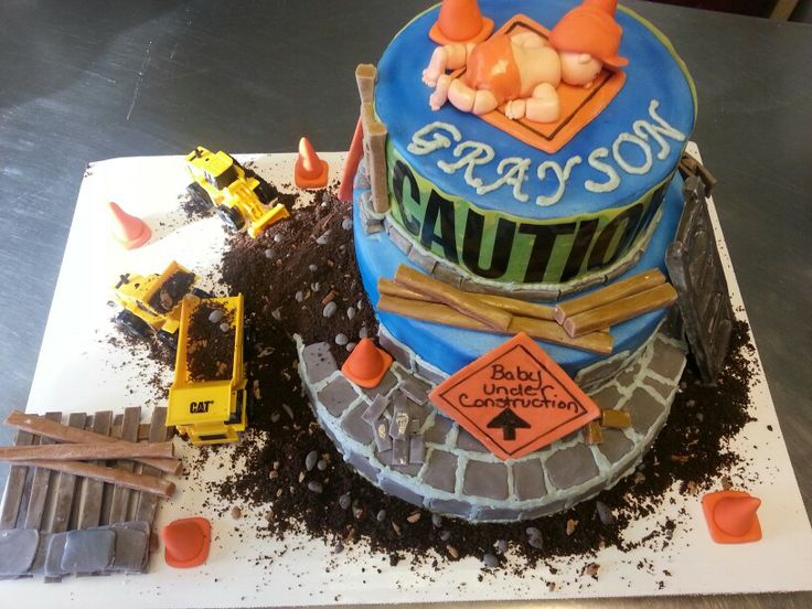 Construction Baby Shower Cake