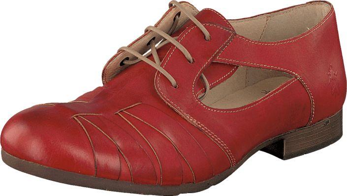 Online Flade sko Køb Fly London Feer Devil Red Røde Sko Læder