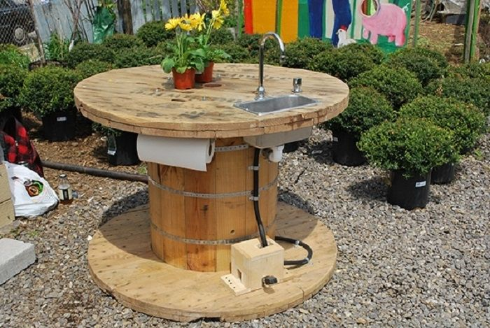 Turn a wooden cable spool into an amazing sink!