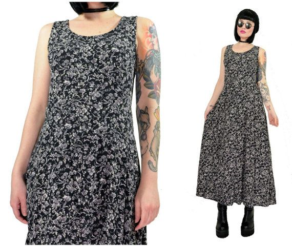 vintage 90s grunge maxi dress ditsy floral festival by AsIfStore