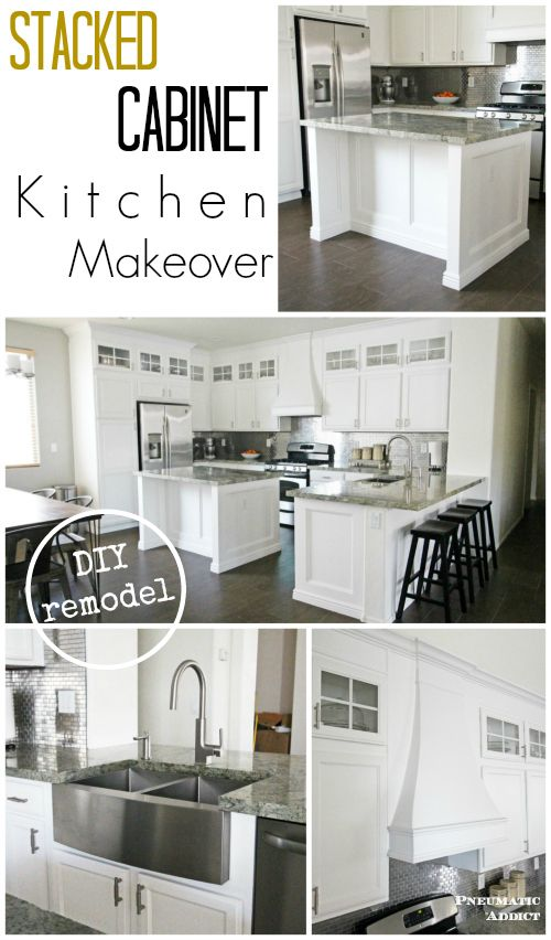 Stacked Cabinet Kitchen Makeover Bloggers Best Diy Ideas Pinterest Cabinets And Remodel
