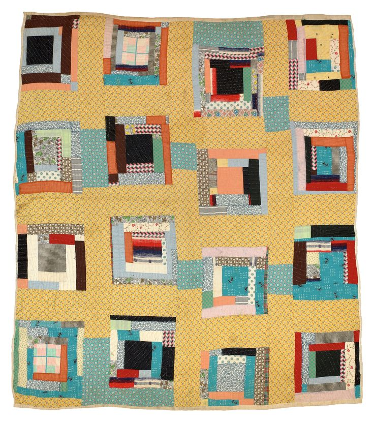 """Martha Pettway, """"Housetop"""" variation, 1930s, Cotton, 84 x 74 inches #GeesBend #Patchwork #Quilting"""